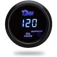 KKmoon Medidor Digital de Presion de Aceite con Sensor para Coche 52mm 2IN LCD 0~120PSI Luz de Advertencia