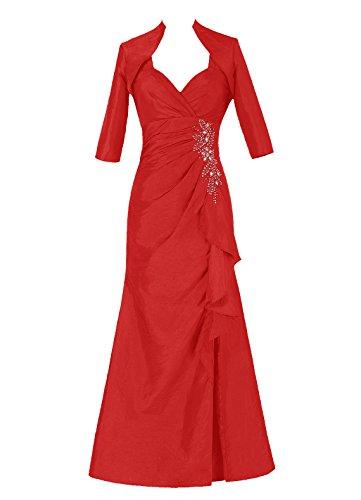 Dresstells, Robe de soirée Robe de cérémonie Robe de mère de la mariée en taffetas longueur ras du sol Rouge