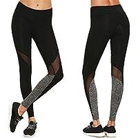 Hey! Leggings deportivos de Malla Para Mujer,Longra ★ Pantalones de Yoga Slim - Sólido Color - Elástico Pretina Pantalones (negro, L【Agregue un tamaño para comprar】)