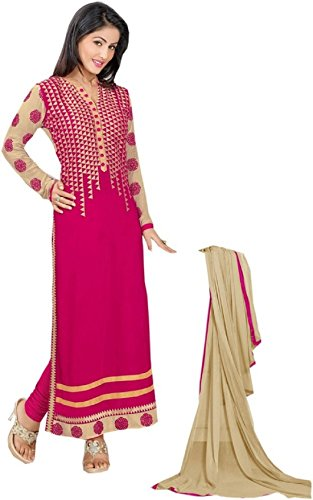 A Fashion Women's Pink Georgette Embroidered Semi Stiched Party Wear Salwar Kameez...