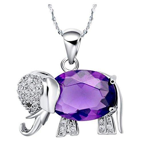 JewelleryClub Collar De Elefante De Plata De Ley Púrpura Swarovski Elements Colgante De Cristal Collar De Amatista para Las Mujeres