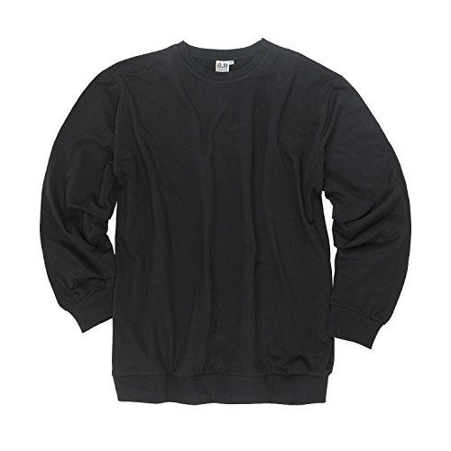 Herren Sweatshirt schwarz Big Size 100% Baumwolle Rundhals in Übergrößen XXL bis 12XL, Größe:6XL