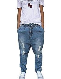 ee6efc44981d3 Pantalones Largos De Mezclilla Hombres del Moda Hip Hop Pantalones Vaqueros  Sueltos Pantalones Largos del Dril