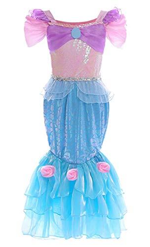 EMIN Meerjungfrau-Kostüm für Mädchen Ariel Meerjungfrau Kleid Kostüm Prinzessin Kleid Pailletten Kurzarm Fasching Karneval Faschingkostüm Party Halloween Weihnachten Kinderkostüm Mermaid - Mann Ariel Kostüm