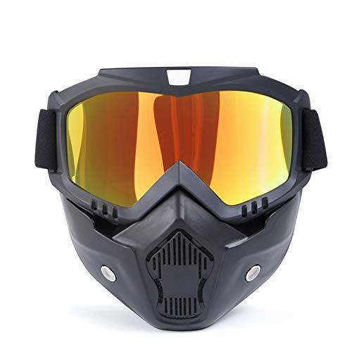 Adisaer Sonnenbrille 400 Uv Herren Im Freien Lokomotivmaske Schutzbrillen Motorrad Retro Helm Reiten Off Road Schutzbrillen Red Damen Herren