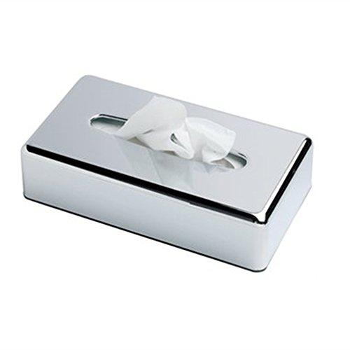 Kosmetiktücherbox, Taschentuchspender taschentuchspender silber Rechteck Facial Tissue Box Halter Kleenex flach Serviette Spender für Badezimmer Vanity Theken (Chrome Silber) (Halter Serviette)
