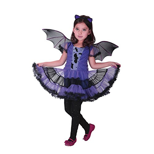 ZOEREA Mädchen Kostüm Karneval Batman Fledermaus Batgirl Fairy Halloween Cosplay Partei Abendkleid (Up Fairy Dress Halloween)