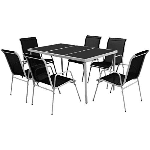 Essgruppe Gartenmöbel Set 7 teilig | Sitzgarnitur mit 6 Stapelstühlen und Tisch | schwarz-grau |...