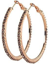 a08b6a269255 geralin Gioielli – Pendientes Grandes Pendientes de aro oro STRASS 5 cm Fashion  Pendientes Vintage