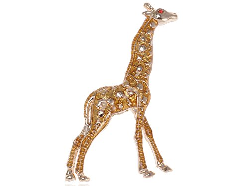 alilang-golden-tone-yellow-spotted-clear-texture-giraffe-animal-brooch-pin