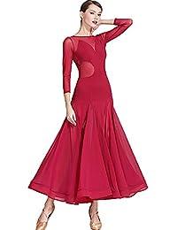 456fdcdd8e CPDZ Vintage Vino Rojo Malla de Manga Larga Vestido Maxi Chiffon Lyrical  alabanza Baile Vestidos de