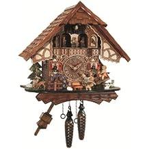 Orologio a cucù al quarzo Casa tipo Foresta Nera, ruota del mulino, movimento altalena EN 4916 QMT