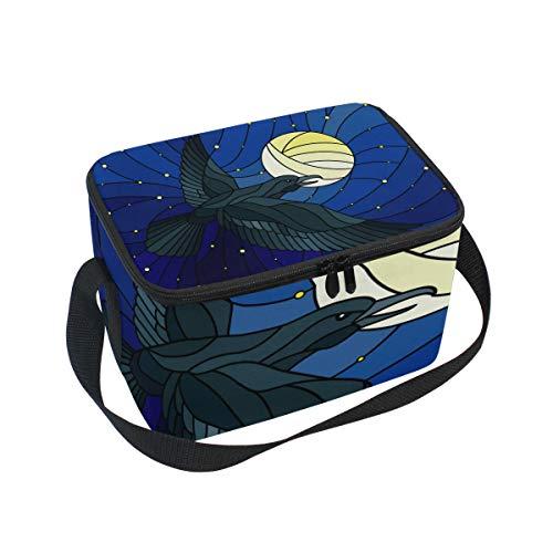 Picknick-Box für Erwachsene, isoliert, große Kühltasche, Thermotasche für Herren, Damen, Bootfahren, Strand, Angeln, Arbeit mit Schultergurt, Adler, Buntglas -