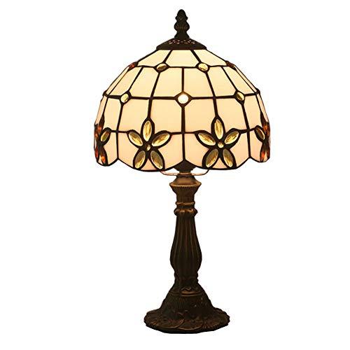 CAQQ Tiffany-Stil Tischlampe europäische minimalistische Runde Flieder Restaurant Wohnzimmer Schlafzimmer Kinderzimmer Nachttischlampen (Mehrfarbig optional) -