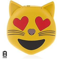 DAM - Emoji Emoticono Powerbank 3600mAh Cat Love, cargador de batería externo para smartphones y otros dispositivos con puerta USB - incluye cable de carga micro USB.