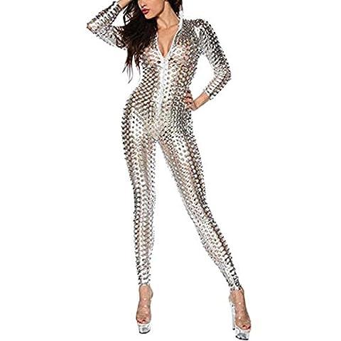 Wonder Pretty Damen Catsuit Catwoman Halloween Kostüme Jumpsuits Overall PVC Wet Look Leder Clubwear Kleid Bodysuit Mit Loch und (Nicht Grund Halloween Kostüme)
