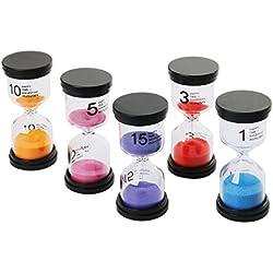 Funhoo 5 Colores Reloj de Arena de 1Min/ 3Mins / 5Mins / 10Mins / 15Mins, Temporizador para Limpiar los Dientes para Niño, Juego en el Aula y Mesa, Ejercicio de Gimnasio, Decoración para Hogar