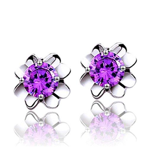 Wunhope Ohrringe Damen Mädchen 925er Sterling Silber mit AAA Zirkonia Klee Blumen Mode Hypoallergen Klein Stecker (Lila) (Lila Und Türkis Blumen)