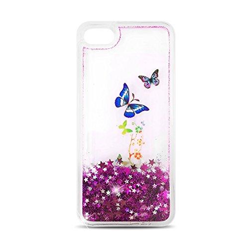 handy-point 3D Fun Case Kreative Flüssigkeit Treibsand Sterne Glitzer Bling Fließend Wasser Glitter Glanz Sparkle Back Cover Schutzhülle Schale Hardcase Hülle für iPhone (iPhone 5, 5S, SE, Gold) Schmetterlinge - Pink