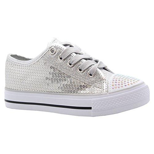MYSHOESTORE  Diamante Canvas Shoes,  Mädchen Sneaker Low-Tops Silver / Sequins