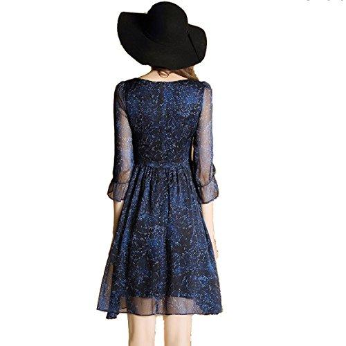 Vestito Chiffon Blu Dalla Stampa Di Estate Delle Signore Di Modo Multi-formato Blue