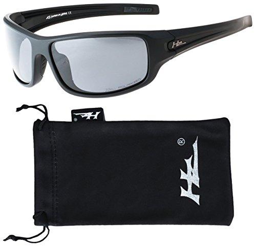 Hornz HZ Serie Arkana - Prämie Polarisierte Sonnenbrillen Mattschwarzes Feld - Dunkles Rauch-Objektiv (Objektiv Rauch Blau)