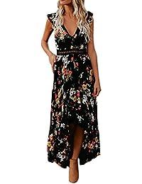 9e62ad01f25ad ADESHOP Élégant Robe, Vintage Femmes IrréGulier Robe De Swallowtail Creux  Backless Sans Manches Impression Robes Femmes…