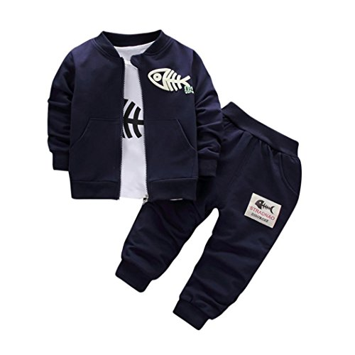 Luckycat 3 STÜCKE Kinder Baby Kleidung Jungen Kleidung Outfits & Set Top Coat + T-shirt + Hosen Fisch (36M--110cm-XL, Dark Blue) (Blue Coat Jungen)