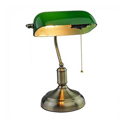 V-TAC - Lámpara de mesa vintage VT-7151SKU 3912 de latón antiguo y vidrio tintado con casquillo E27, color verde