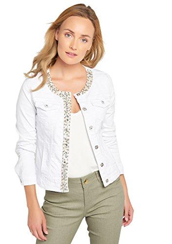 LOLALIZA Denim Jacket Cristals & Strass - White - Size M (Snap Denim-pearl)
