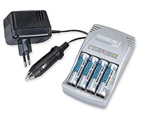 Ansmann Powerline 4 Mobil Ladegerät für Micro AAA, Mignon AA und 9V-Block