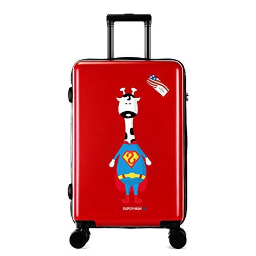 Neu Superman High Capacity Koffer Trolley, Spinner Studenten Cartoon Print Passwort Reisekoffer Räder Student Handgepäck Rollkoffer Red-24 inches - Expandable Trolley Case