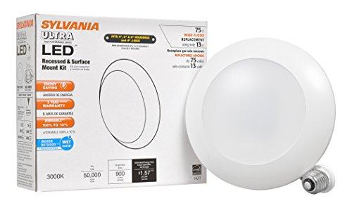 Sylvania 73676Bright Weiß 3000K Ultra Light Disk LED 75W Einbaustrahler und Surface Mount Einbauleuchte Kit mit Medium Base von Sylvania -