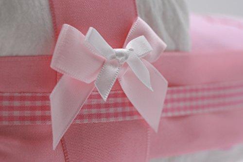 """Kleine Windeltorte / Windelwagen rosa für Mädchen – mit Lätzchen """"kleine Prinzessin"""" – das perfekte Geschenk zur Geburt oder Taufe + gratis Klappkarte - 4"""