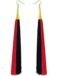Red & Black Twin Colour Long Tassel Fashion Earrings For Girls And Women By LuxZery