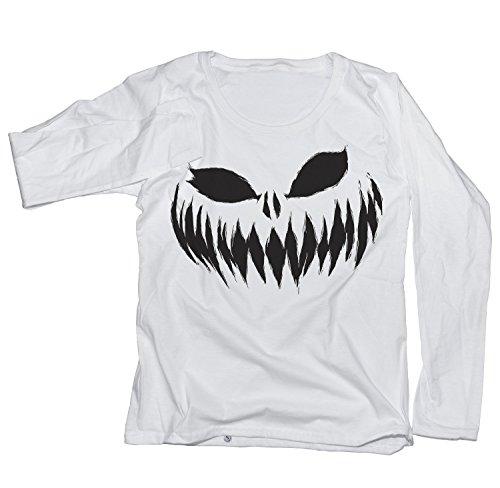 Ma2ca® Halloween Pumpkin Smiley black Frauen Langarm Shirt F277N-white-xl