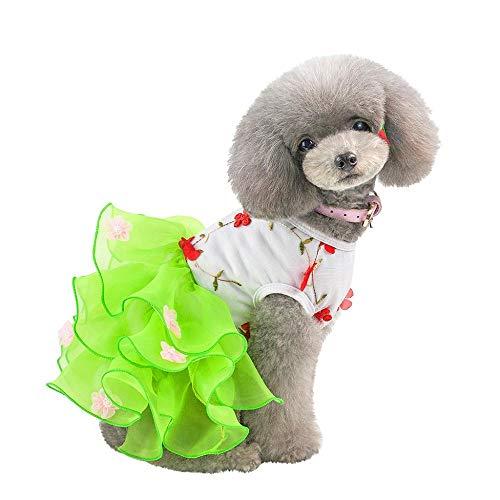 Doublehero Hundebekleidung,Hund Katze Puppy Prinzessin Kleider Modischer Mesh Spitze Tutu Rock Bestickt Hund Kleid Prinzessin Hochzeit Kleider Kostüme Kleidung Kleidung (L, Grün)