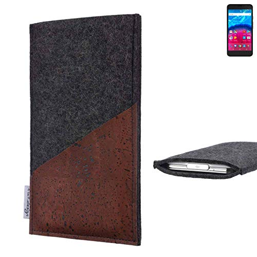 flat.design Handy Hülle Evora für Archos Core 55 4G handgefertigte Handytasche Kork Filz Tasche Case fair dunkelgrau