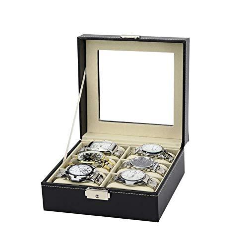 Uhr Schmuckschatulle Display Aufbewahrung 6 Slots Zweireihig Pu Leder Uhrenschatulle/Schmuck Aufbewahrungsbox Organizer Armband Box Case Tray (Farbe: Schwarz, Größe: One size) 8-slot-display-trays