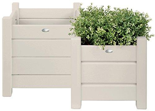Esschert design, set di 2 fioriere-portavaso quadrate, da giardino, colore: bianco