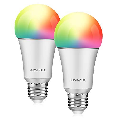 JOMARTO Smart LED Lampe, WIFI Lampe E27, 9W, 800LM Smart Lampe Wifi Smart Birne RGBW dimmbar Wlan Glühbirne, APP gesteuert, weißes und buntes Licht, kompatibel mit Google Home, Amazon Alexa
