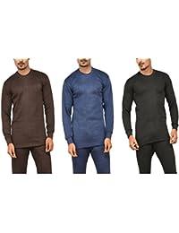 Alfa Oswal Men's Cotton Blend Thermal Top - Pack of 3 (Navy, Brown, Black) + 1 Pair Socks Free
