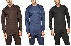 Alfa Oswal Mens Thermal Top - Pack of 3(Navy, Brown, Black) + 1 Pair Socks Free (95 cm)