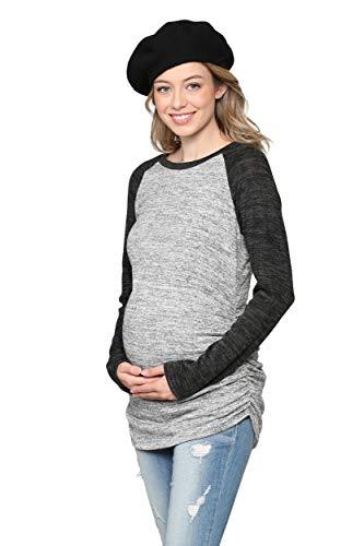 Damen Umstands-Pullover, gestrickt, langärmelig, gerafft, Raglan, Casual, T-Shirts - Grau - Klein -