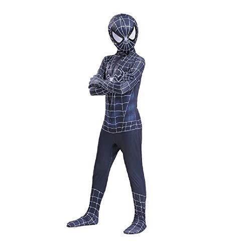 Venom Kostüm Kinder - Diudiul Kids Superheld Spiderman Kostüme für Kinder Action Dress Ups und Zubehör Party Cosplay Kostüm (L(130-140cm), Schwarz-Venom)