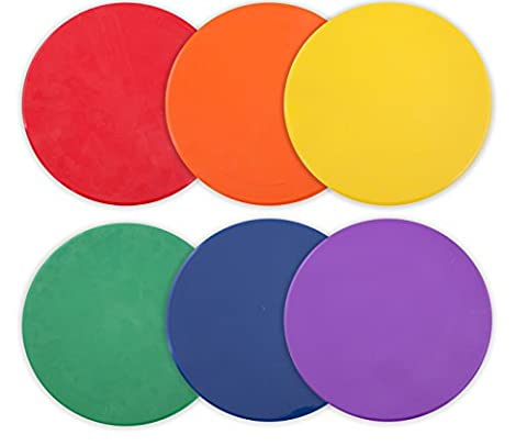 Champion Sports 10 Inch Poly Vinyl Spot Markers for Drills and Training, (Set of 6, Green, Orange, Purple, Royal Blue, Red and Yellow - One of Each)