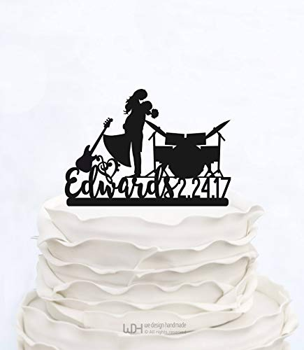Claude6yhAly Drum Cake Topper Familienname Cake Topper mit Datum Musik Hochzeitstorte Topper personalisierte Cake Topper mit Musikinstrument und Note (Cupcake Drum Toppers)