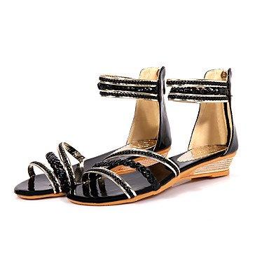 LvYuan Damen-Sandalen-Büro Kleid Lässig-Kunstleder-Flacher Absatz-Andere-Schwarz Blau Weiß Beige Beige