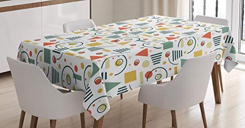 ABAKUHAUS Retro Tischdecke, 80er Jahre 90er Jahre Stil Geometrisch, Für den Inn und Outdoor Bereich geeignet Waschbar Druck Klar Kein Verblassen, 140 x 170 cm, Mehrfarbig
