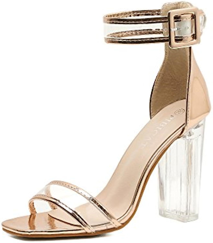 ZHZNVX Il nuovo a tacco alto scarpe estate nuova a a a tacco alto scarpe lucidi con cristallo grossolano sandali con... | vendita di liquidazione  43d1a8